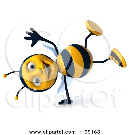 Royalty-Free (RF) Clipart Illustration of a 3d Bee Character Doing A Hand Stand by Julos