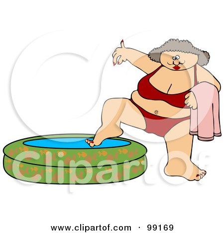 Royalty-Free (RF) Clipart Illustration of a Chubby Woman In A Red Bikini, Dipping Her Foot In A Kiddie Pool by djart