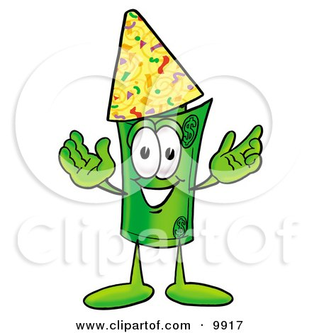 Clipart Picture of a Rolled Money Mascot Cartoon Character Wearing a Birthday Party Hat by Toons4Biz