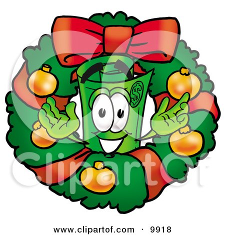 Clipart Picture of a Rolled Money Mascot Cartoon Character in the Center of a Christmas Wreath by Toons4Biz