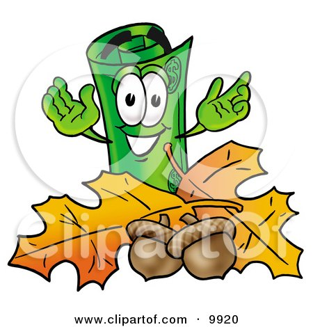 Clipart Picture of a Rolled Money Mascot Cartoon Character With Autumn Leaves and Acorns in the Fall by Toons4Biz