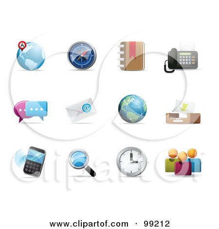 Royalty-Free (RF) Clipart Illustration of a Digital Collage Of Internet Icons With Shadows by Qiun