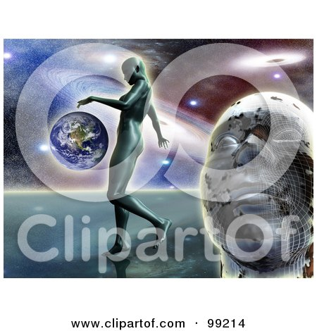 Royalty-Free (RF) Clipart Illustration of a 3d Mans Face With A Woman Walking Near Earth Against The Galaxy by MacX