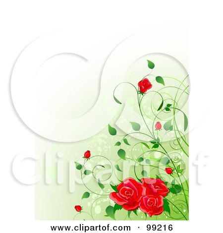 Background Of Red Roses And Buds Over Gradient Green Posters, Art Prints