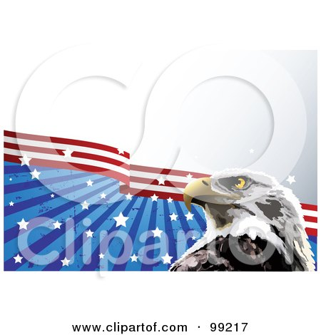 Royalty-Free (RF) Clipart Illustration of a Bald Eagle In Front Of Grungy Stars And Stripes, Over Gradient Gray by Pushkin