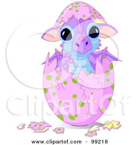 Cute Baby Dragon Hatching From A Pink Egg Posters, Art Prints