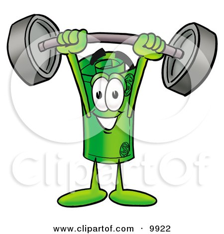 Clipart Picture of a Rolled Money Mascot Cartoon Character Holding a Heavy Barbell Above His Head by Toons4Biz