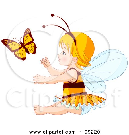 Royalty-Free (RF) Clipart Illustration of a Blond Baby Fairy Girl Reaching For A Butterfly by Pushkin