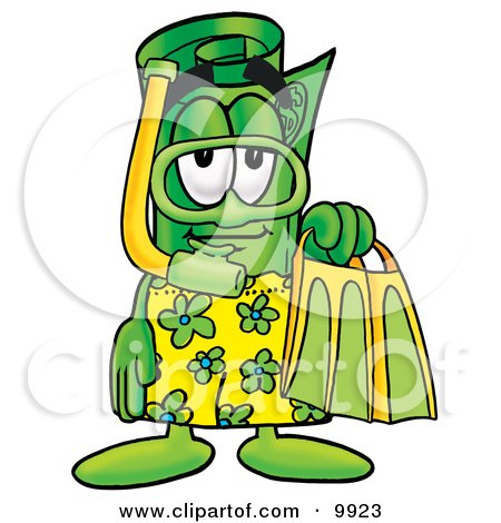 Clipart Picture of a Rolled Money Mascot Cartoon Character in Green and Yellow Snorkel Gear by Toons4Biz