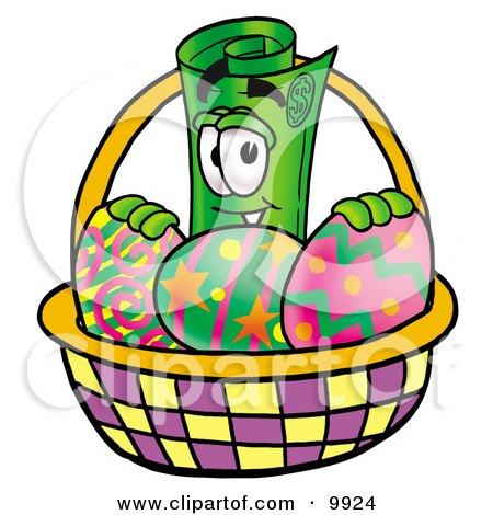 Clipart Picture of a Rolled Money Mascot Cartoon Character in an Easter Basket Full of Decorated Easter Eggs by Toons4Biz