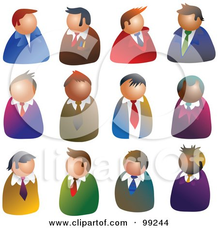 Royalty-Free (RF) Clipart Illustration of a Digital Collage Of 12 Businessmen Avatars by Prawny