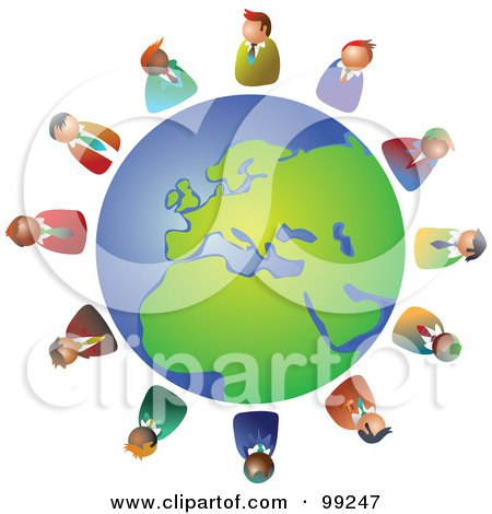 Royalty-Free (RF) Clipart Illustration of a Business Team Circling The Globe by Prawny