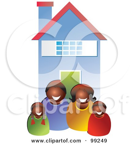 Royalty-Free (RF) Clipart Illustration of a Happy Black Family In Front Of Their Home by Prawny