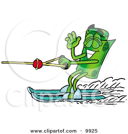 Clipart Picture of a Rolled Money Mascot Cartoon Character Waving While Water Skiing by Toons4Biz