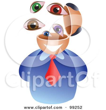 Royalty-Free (RF) Clipart Illustration of a Businessman With An Eyeball Brain by Prawny