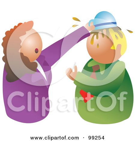 Royalty-Free (RF) Clipart Illustration of a Stressed Businses Woman Dumping A Bowl Of Food On A Man's Head by Prawny