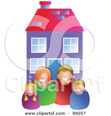 Royalty-Free (RF) Clipart Illustration of a Happy White Family In Front Of Their Home by Prawny