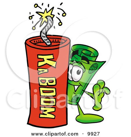 Clipart Picture of a Rolled Money Mascot Cartoon Character Standing With a Lit Stick of Dynamite by Toons4Biz