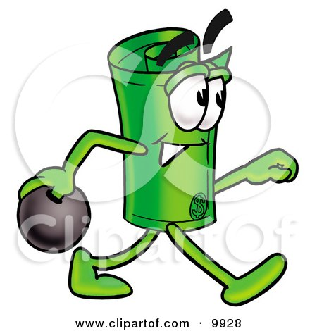Clipart Picture of a Rolled Money Mascot Cartoon Character Holding a Bowling Ball by Toons4Biz