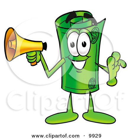 Clipart Picture of a Rolled Money Mascot Cartoon Character Holding a Megaphone by Toons4Biz
