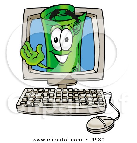 Clipart Picture of a Rolled Money Mascot Cartoon Character Waving From Inside a Computer Screen by Toons4Biz