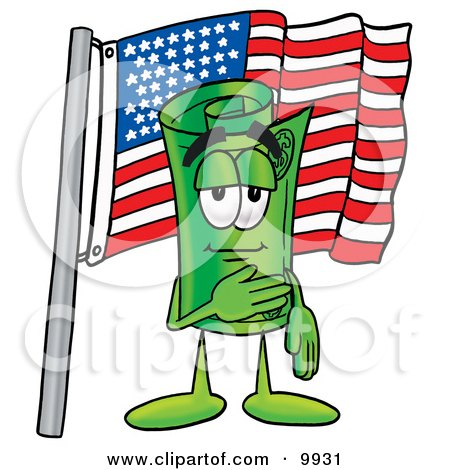 Clipart Picture of a Rolled Money Mascot Cartoon Character Pledging Allegiance to an American Flag by Toons4Biz