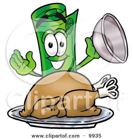 Clipart Picture of a Rolled Money Mascot Cartoon Character Serving a Thanksgiving Turkey on a Platter by Toons4Biz