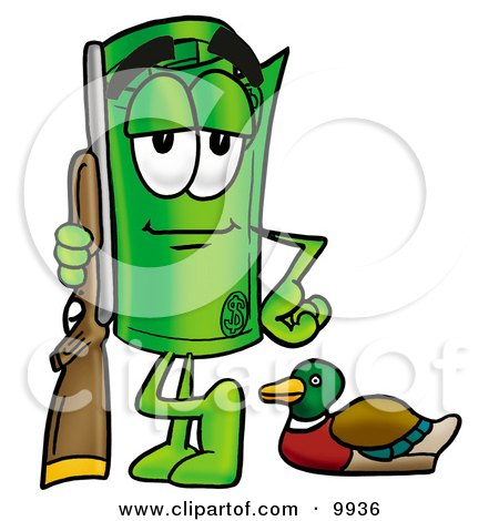 Clipart Picture of a Rolled Money Mascot Cartoon Character Duck Hunting, Standing With a Rifle and Duck by Toons4Biz