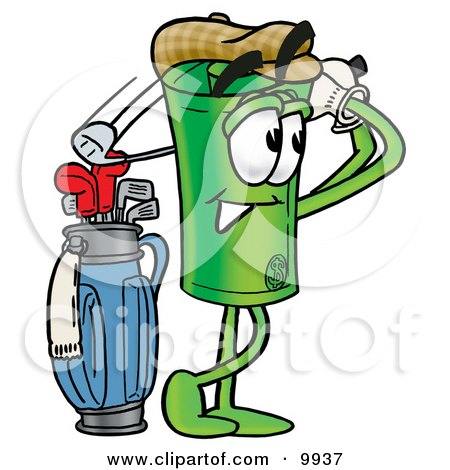 Clipart Picture of a Rolled Money Mascot Cartoon Character Swinging His Golf Club While Golfing by Toons4Biz