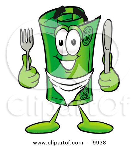 Clipart Picture of a Rolled Money Mascot Cartoon Character Holding a Knife and Fork by Toons4Biz