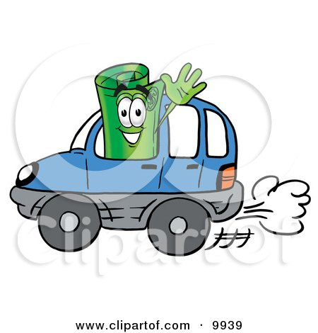 Clipart Picture of a Rolled Money Mascot Cartoon Character Driving a Blue Car and Waving by Toons4Biz