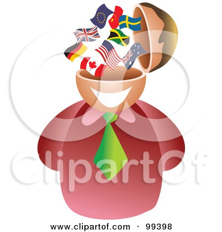 Royalty-Free (RF) Clipart Illustration of a Businessman With A Flag Brain by Prawny