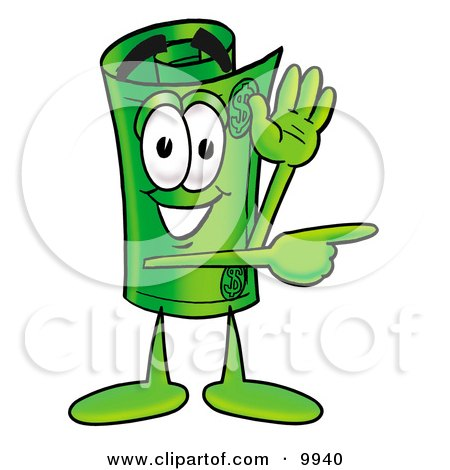 Clipart Picture of a Rolled Money Mascot Cartoon Character Waving and Pointing by Toons4Biz
