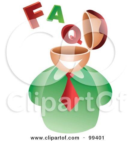 Royalty-Free (RF) Clipart Illustration of a Businessman With An FAQ Brain by Prawny