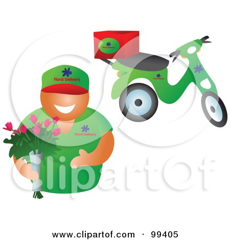 Royalty-Free (RF) Clipart Illustration of a Friendly Floral Delivery Guy Holding A Bouquet, His Scooter In The Background by Prawny