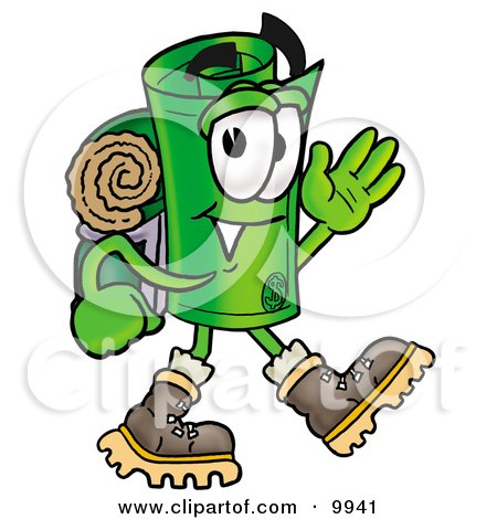 Clipart Picture of a Rolled Money Mascot Cartoon Character Hiking and Carrying a Backpack by Toons4Biz