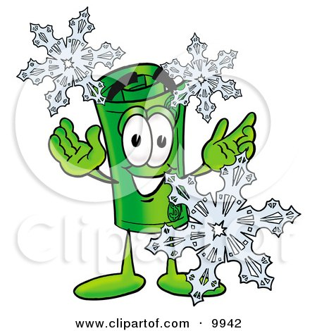 Clipart Picture of a Rolled Money Mascot Cartoon Character With Three Snowflakes in Winter by Toons4Biz
