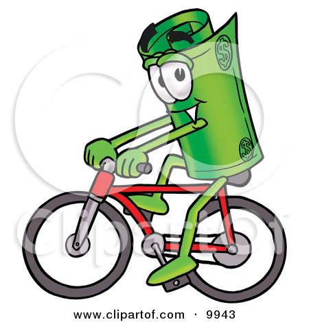Clipart Picture of a Rolled Money Mascot Cartoon Character Riding a Bicycle by Toons4Biz