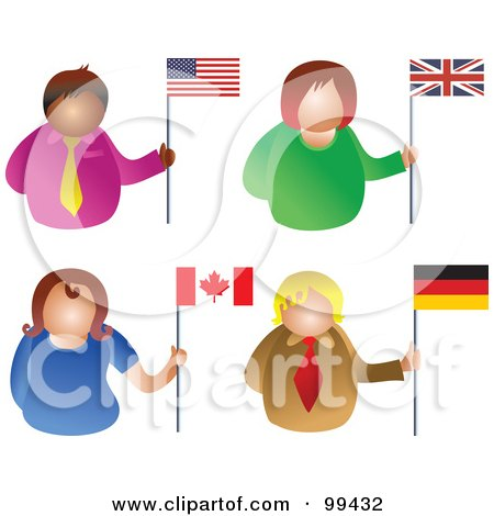 Royalty-Free (RF) Clipart Illustration of a Digital Collage Of People Holding Flags - 1 by Prawny