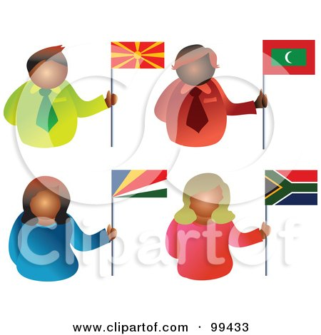 Royalty-Free (RF) Clipart Illustration of a Digital Collage Of People Holding Flags - 6 by Prawny