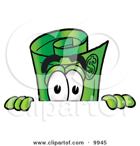 Clipart Picture of a Rolled Money Mascot Cartoon Character Peeking Over a Surface by Toons4Biz