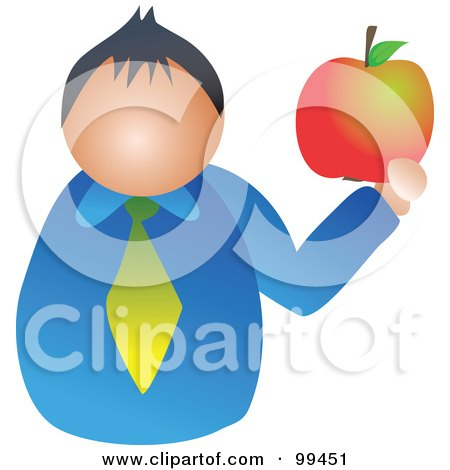 Royalty-Free (RF) Clipart Illustration of a Man Holding A Large Apple by Prawny