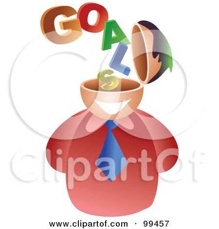 Royalty-Free (RF) Clipart Illustration of a Businessman With A Goals Brain by Prawny