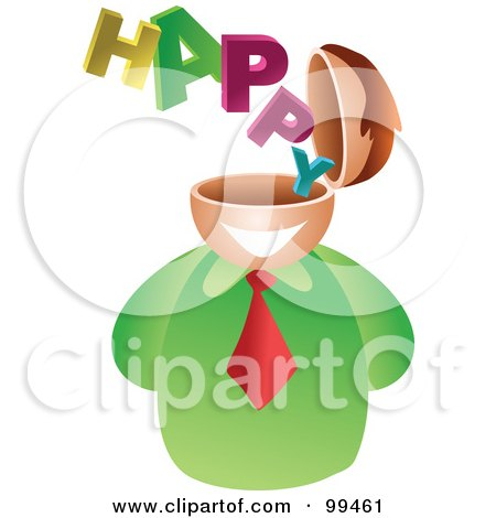 Royalty-Free (RF) Clipart Illustration of a Businessman With A Happy Brain by Prawny