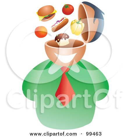 Royalty-Free (RF) Clipart Illustration of a Businessman With A Food Brain by Prawny