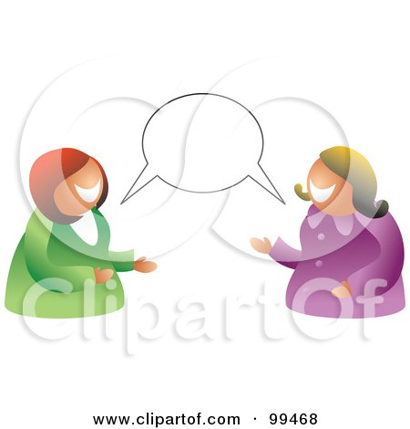 Royalty-Free (RF) Clipart Illustration of a Two Women Having A Conversation With A Blank Balloon by Prawny