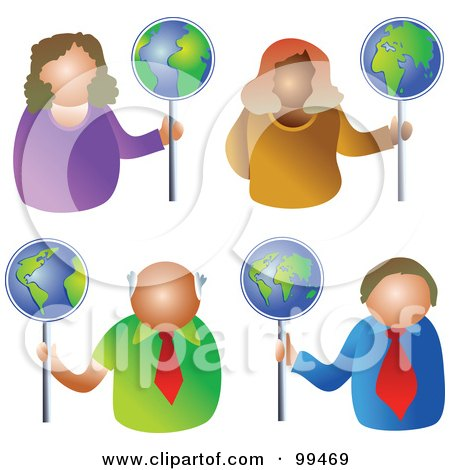 Royalty-Free (RF) Clipart Illustration of a Digital Collage Of Business Men And Women Holding Globe Signs by Prawny
