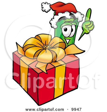 Clipart Picture of a Rolled Money Mascot Cartoon Character Standing by a Christmas Present by Toons4Biz