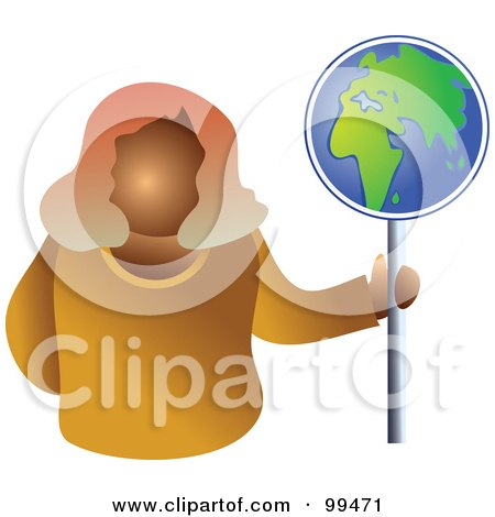 Royalty-Free (RF) Clipart Illustration of a Business Woman Holding A Globe Sign by Prawny