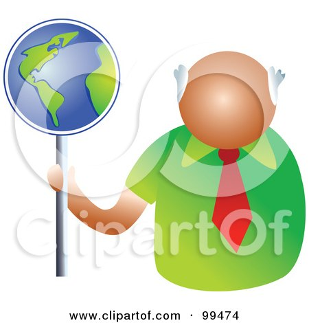Royalty-Free (RF) Clipart Illustration of a Businessman Holding A Globe Sign by Prawny